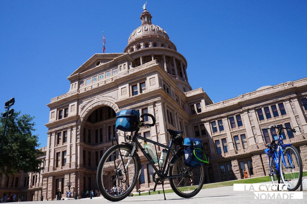 acheter vélo à l'étranger - southern tiers, austin - capitole - texas - voyage vélo - cyclotourisme - la cyclonomade - hill country - voyage mère fille