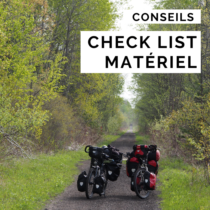 check list matériel - cyclotourisme - voyager à vélo - la cyclonomade